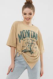 Молодежная футболка бежевого цвета с коротким рукавом и стильным принтом, размер S, M, L