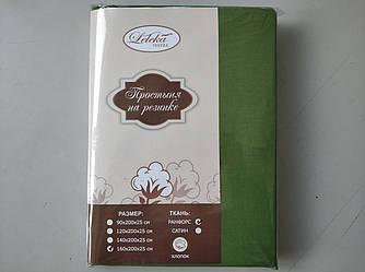 Простынь ранфорс на резинке 160х200+25см Зеленый травяной Лелека Текстиль