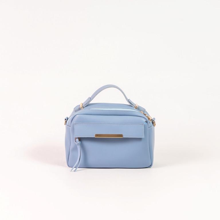 Блакитна жіноча сумка крос-боді K62-18/8 портфельчик з ручкою і ремінцем на плече
