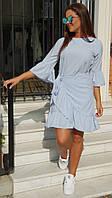 Платье нарядное женское с оборками нежно голубое 48-50р