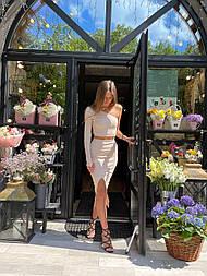 Костюм женский рубчик: топ на одно плечо и юбка-карандаш с разрезом (в расцветках)