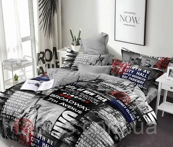 Двухспальный набор постельного белья Бязь Голд, расцветка как на фото, газета