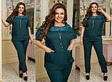 Жіночий брючний костюм блузка декорована гіпюр вставкою штани тканину костюмна розмір: 50-52, 54-56, 58-60, фото 4
