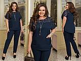 Жіночий брючний костюм блузка декорована гіпюр вставкою штани тканину костюмна розмір: 50-52, 54-56, 58-60, фото 5