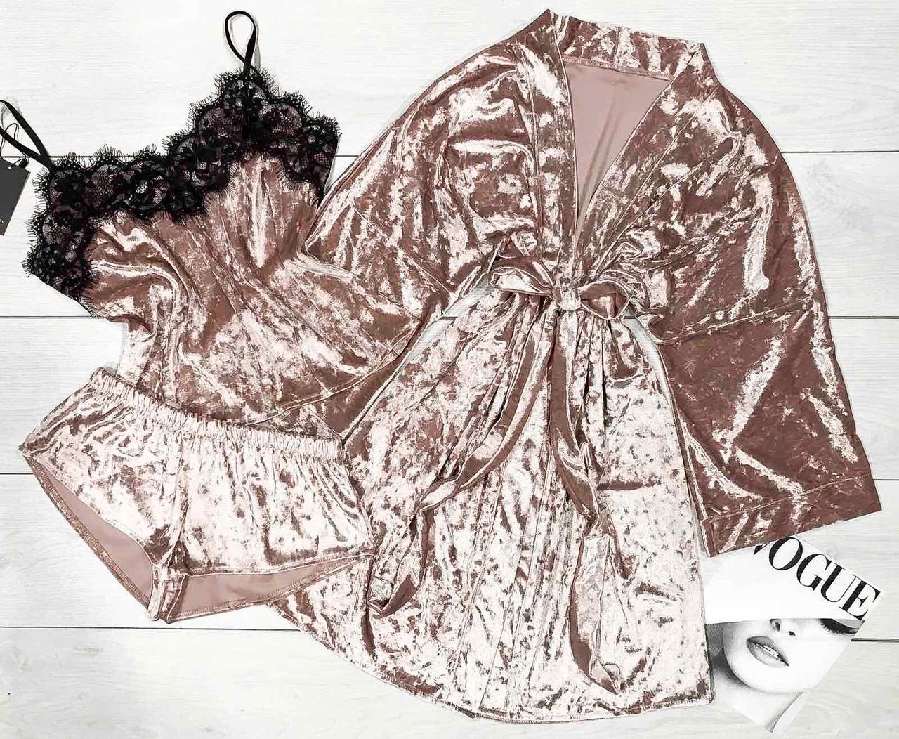 Модный  женский комплект, халат и пижама цвет пудра