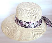 Шляпа-козырек пляжная Fashion (58 см) бежевая
