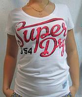 Футболка женская белая SUPER DRY (550) код 112д