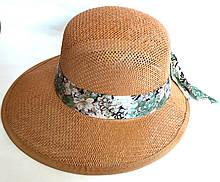 Шляпа-козырек пляжная Fashion (58 см) светло-коричневая