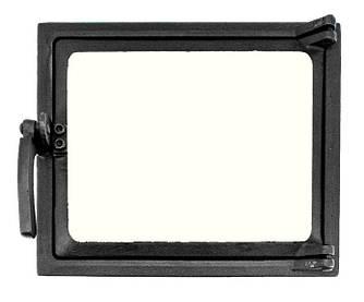 Топочная дверца для печи со стеклом 230х275мм, чугунная печная дверка 102861