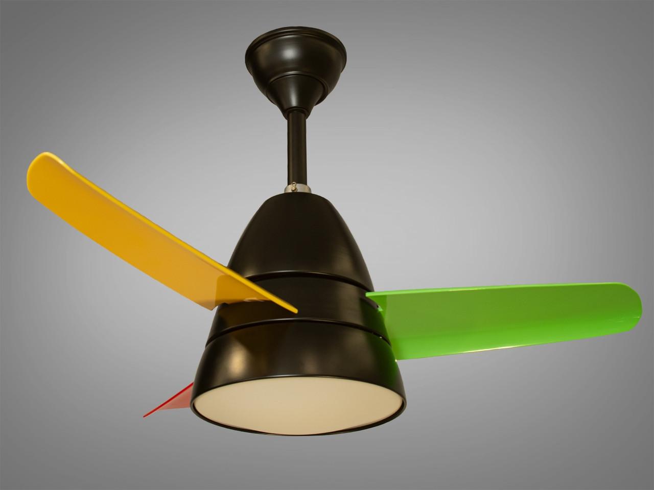 Люстра-вентилятор з різнокольоровими лопатями 6380BK