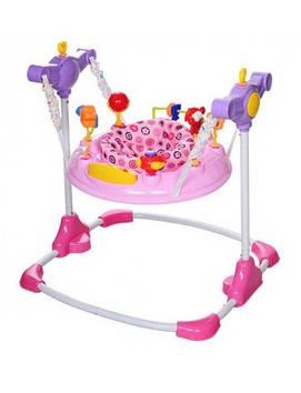 Стрибунець,м'ягк.крісло-повор360,рег.висот,муз,зв,рухомі деталі,MP3,рожевий №BC01-8(1)