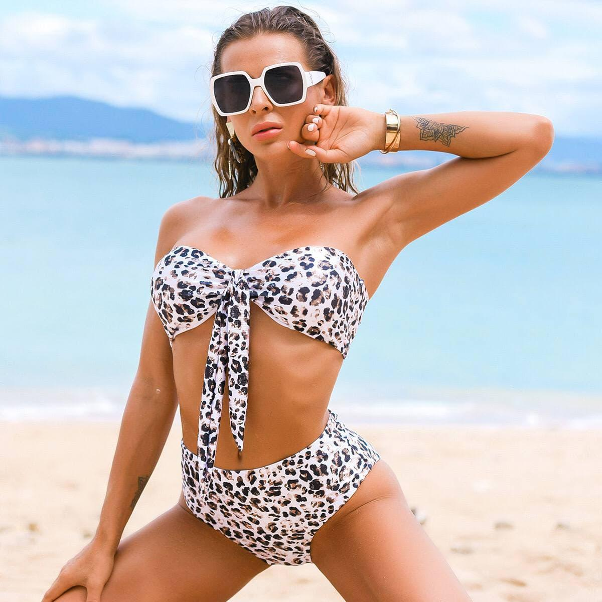 Женский леопардовый раздельный купальник с топом бандо на завязках Black