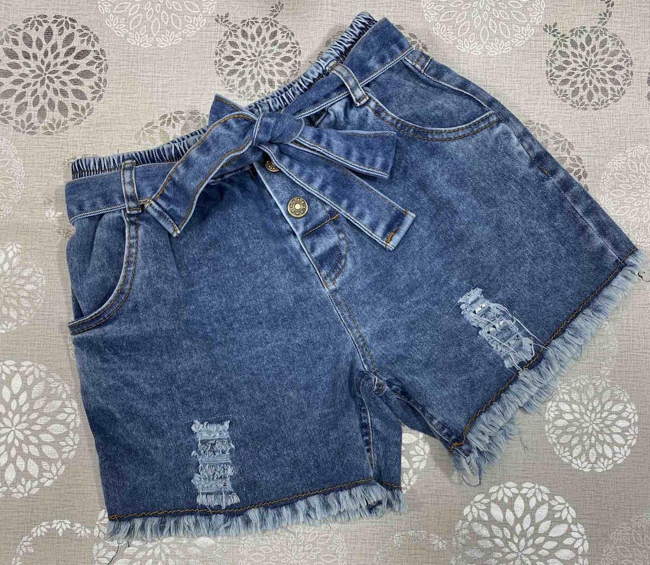 Подростковые стильные джинсовые шорты для девочки с поясом минимализм р. 146-164 стрейтч