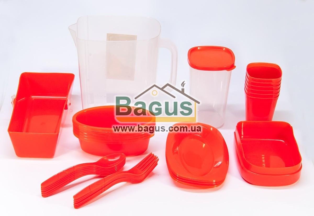 Набор посуды для пикника (ведро + 6 комплектов посуды) (цвет красный) А-Плюс AP-35OM-2