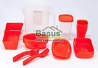 Набор посуды для пикника (ведро + 6 комплектов посуды) (цвет красный) А-Плюс AP-35OM-2, фото 1