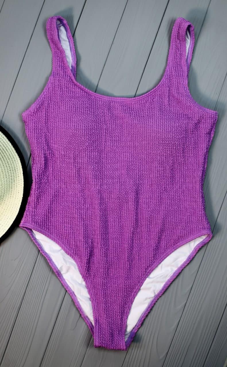 Сдельный фиолетовый купальник с открытой спинкой Purple