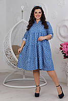 Джинсовое свободное платье, большого размера 42-58
