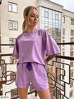 Трикотажный стильный женский костюм  свободная футболка и короткие шорты из двунитки р-ры 42-44,46-48 арт 474