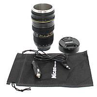 Термос Кружка-объектив Nikon с подогревом от прикуривателя Термокружка в машину из нержавеющей стали для кофе