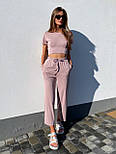 Літній костюм жіночий прогулянковий з широкими штанами, фото 5