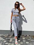 Літній костюм жіночий прогулянковий з широкими штанами, фото 2