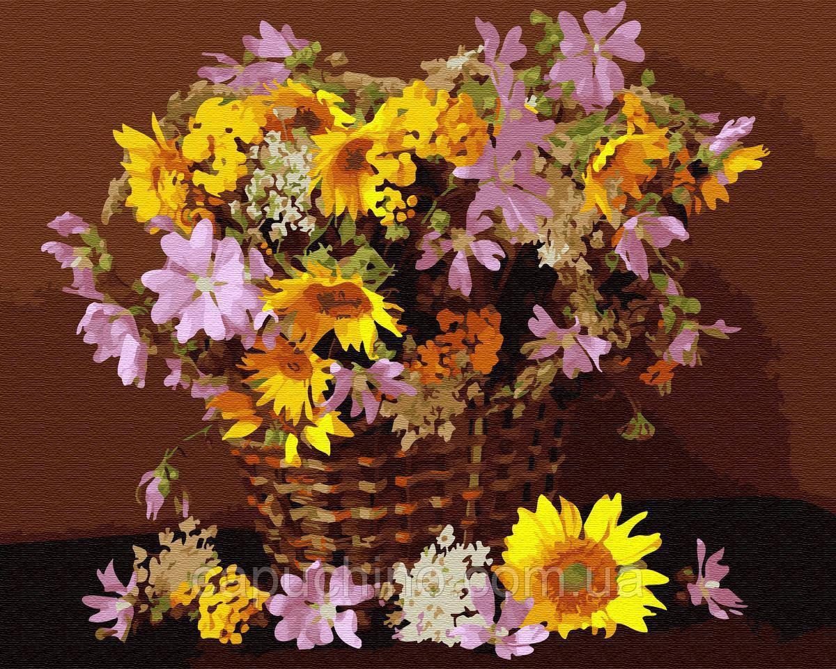 Картина по номерам рисование Цветочная корзина BK-GX34025 набор для росписи, краски, кисти, холст