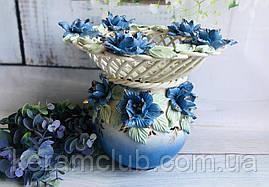 Цукерниця-куля Керамклуб Офелія плетінка Кольорова ліплення синя 26 см