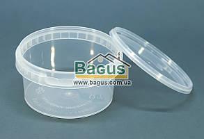 Контейнер круглый 0,5л из пищевого пластика с крышкой (прозрачный)