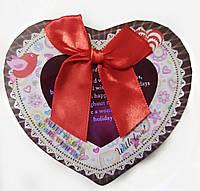 Подарочная коробочка для упаковки подарков в виде сердца 8*12*12,5см коричневая