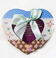Подарочная коробочка для упаковки подарков в виде сердца 8*12*12,5см горох