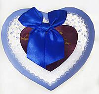 Подарочная коробочка для упаковки подарков в виде сердца 8*12*12,5см голубая
