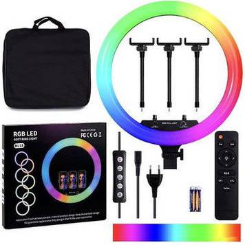 Кільцева LED лампа RGB MJ-18, 436 діодів, 45 см (з сумкою) Чорний