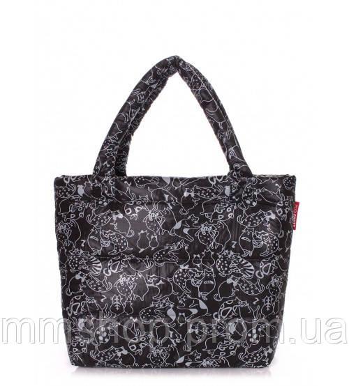 Сумка женская дутая POOLPARTY Big Eco Bags Сats черная, фото 1