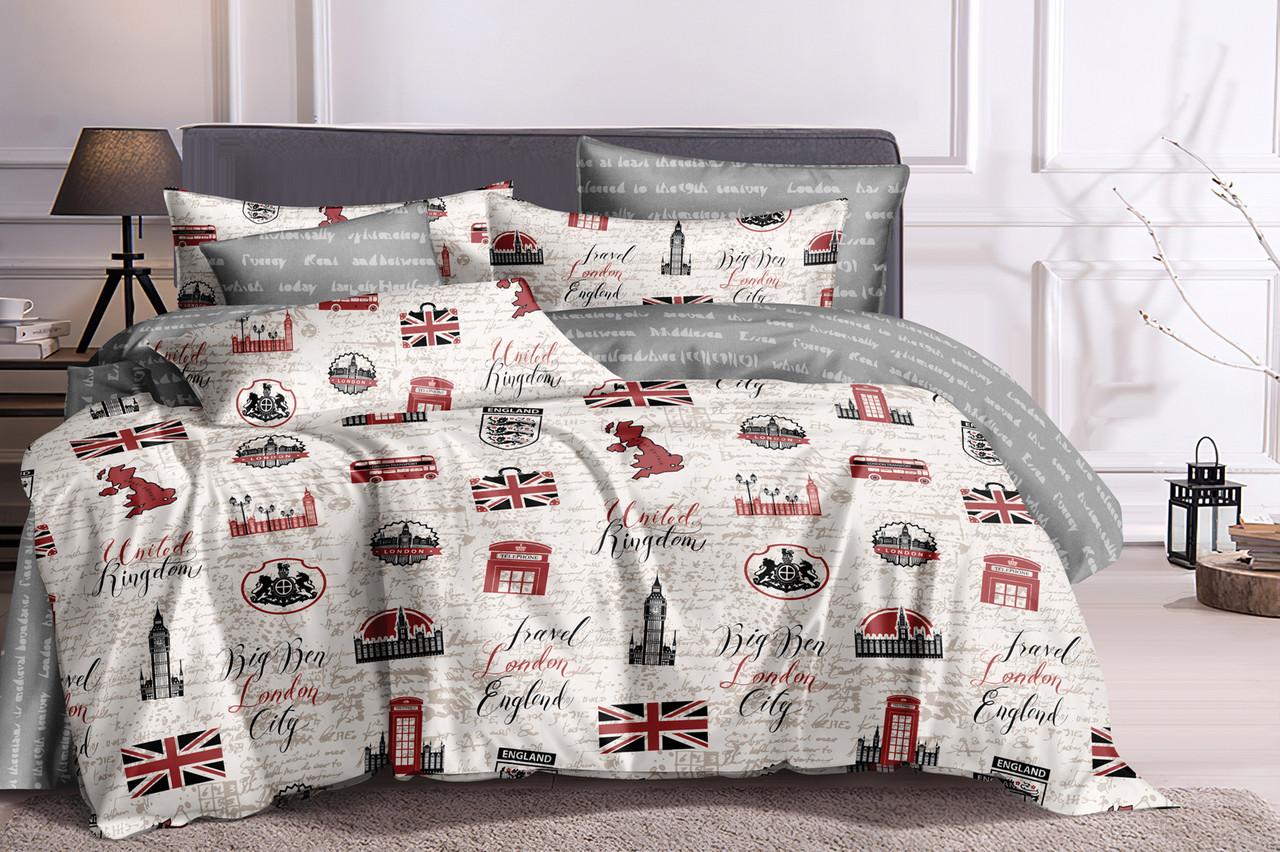 Семейный комплект постельного белья на резинке сатин (17312) TM КРИСПОЛ Украина