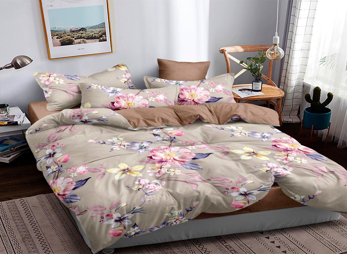Двуспальный двусторонний комплект постельного белья евро 200*220 Сатин Люкс (17289) TM КРИСПОЛ Украина
