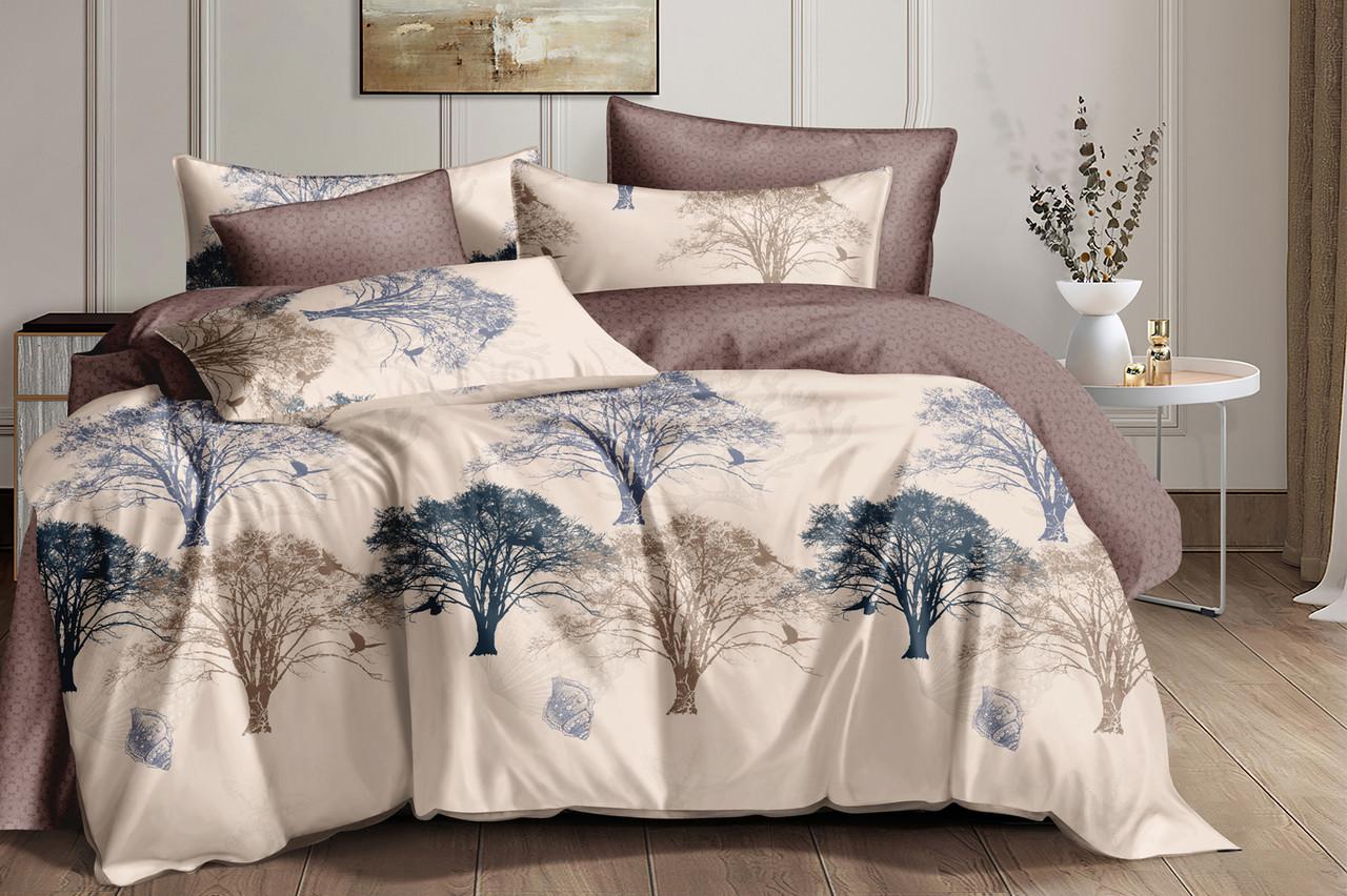 Двуспальный комплект постельного белья на резинке 180*220 сатин (17305) TM КРИСПОЛ Украина