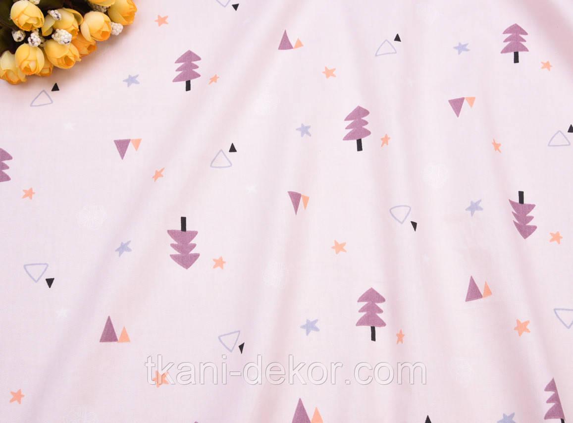 Сатин (хлопковая ткань) Елки и звезды цветные