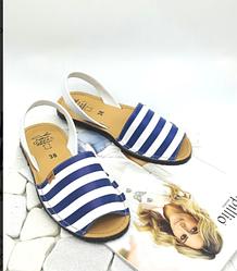 Женские испанские кожаные сандалии в синюю полоску