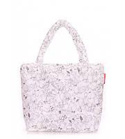 Сумка женская дутая POOLPARTY Big Eco Bags Сats белая, фото 1