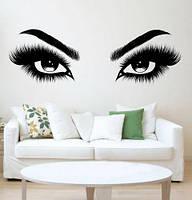 Вінілова наклейка на стіну Красиві очі (погляд брови дівчина декор салону краси) матова 1200х400 мм, фото 1