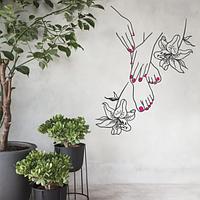 Наклейка для салона красоты Маникюр и Педикюр с лилиями (ногти декор маникюрного кабинета) матовая 545х700 мм