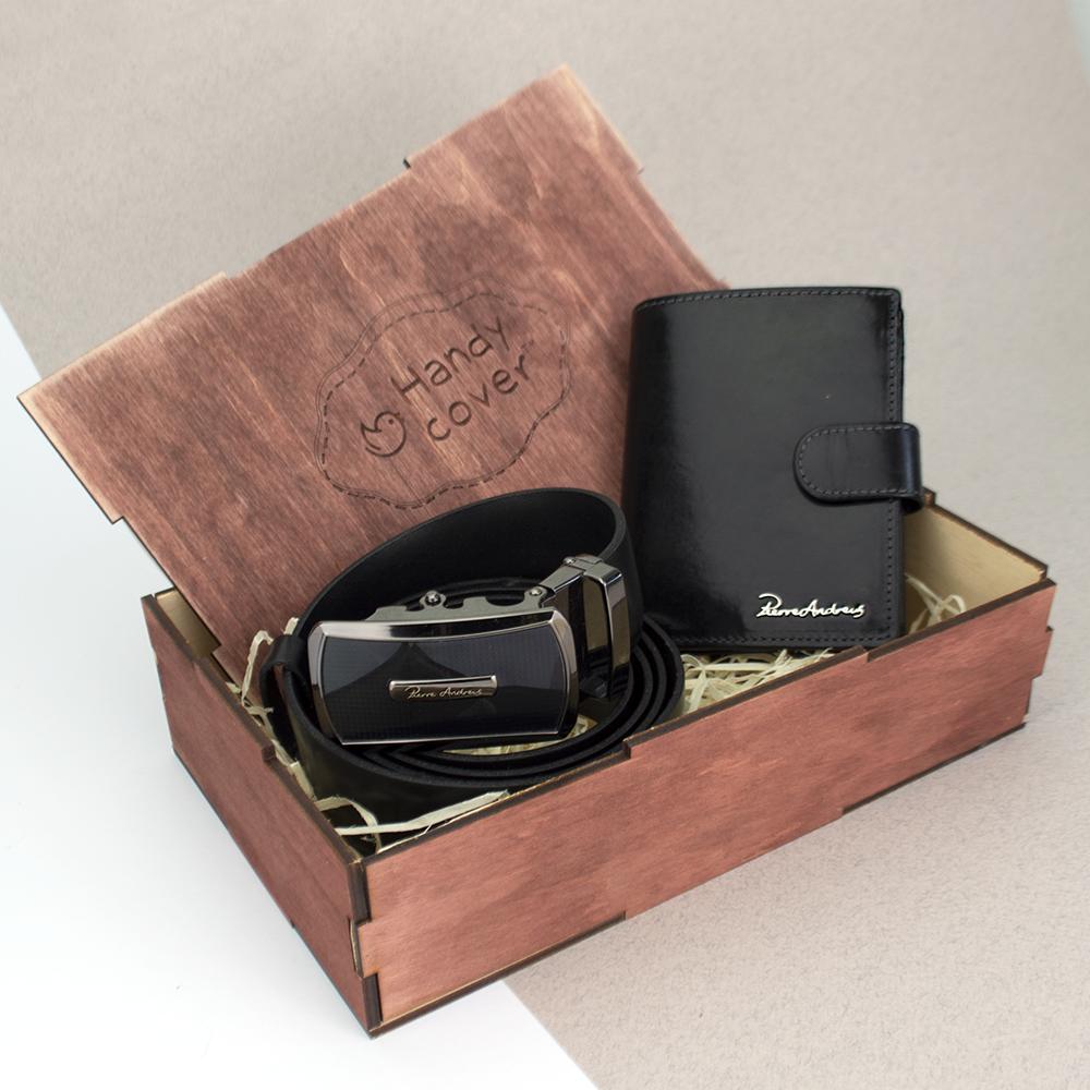 Подарунковий набір чоловічий  Pierre Andreus (ремінь і портмоне)