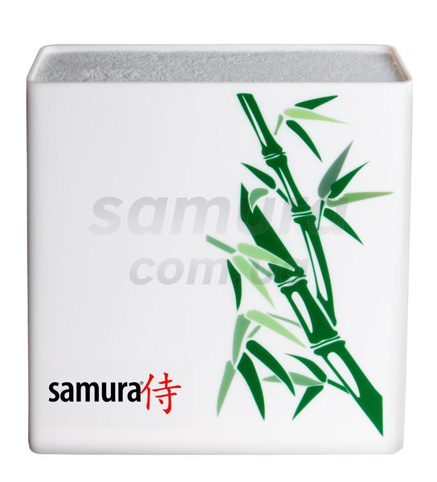 Підставка для ножів універсальна, біла/зелений бамбук, Samura Hypercube (KBH-101BW)