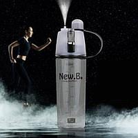 Спортивная бутылка для воды с распылителем New.B 600 мл черная