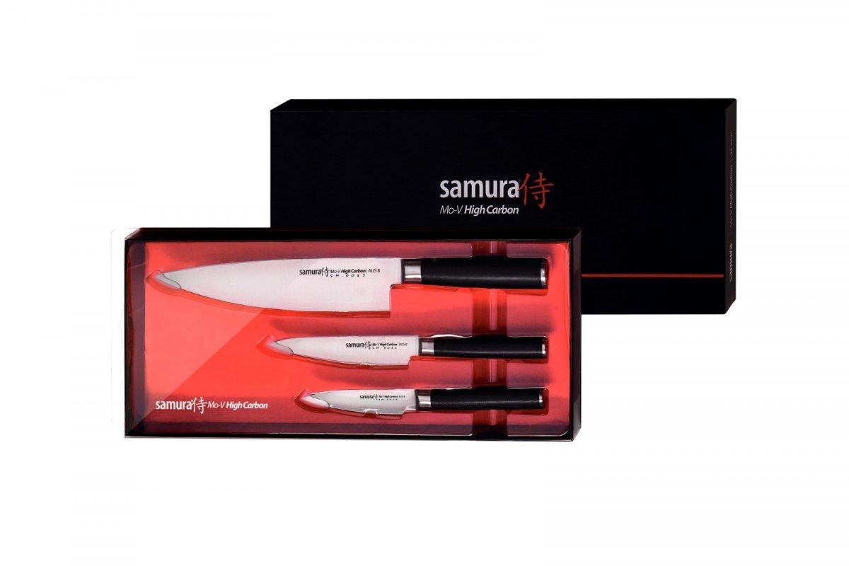 Набір з 3-х кухонних ножів (овочевий, універсальний, Шеф) в подарунковій коробці, Samura Mo-V (SM-0230)