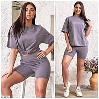 Модный стильный женский костюм на лето короткие шорты и удлиненная футболка р-ры 44-46,48-50 арт 5160