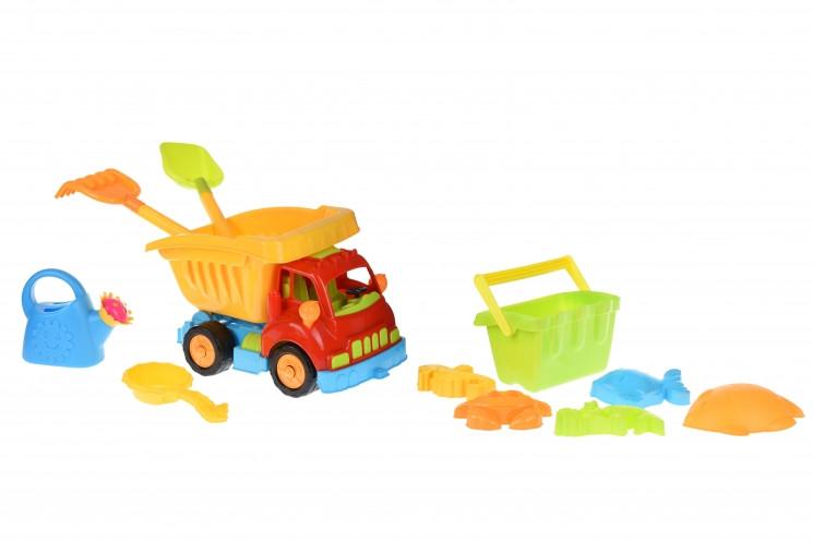 Same Toy Набор для игры с песком - Грузовик красная кабина/желтый кузов (11 ед.)