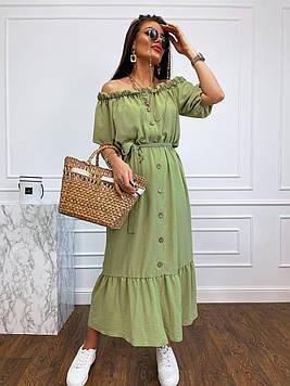 Длинное летнее  платье-сарафан с открытыми плечами на пуговицах салатового цвета