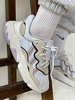 Текстильные женские кроссовки Adidas Ozweego White Grey (Бело-серые Адидас Озвиго рефлективные весна/лето)