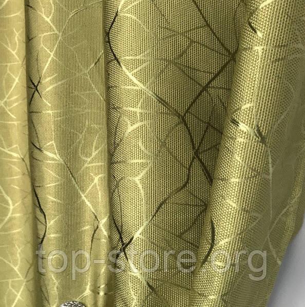 Сонцезахисні штори з льону блекаут Готові штори з льону 100% захист від сонця Оливкові штори